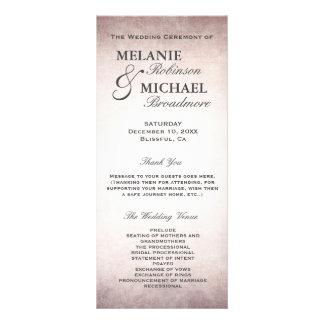 Hochzeits-Programm-elegantes Vintages erröten Bedruckte Werbekarte