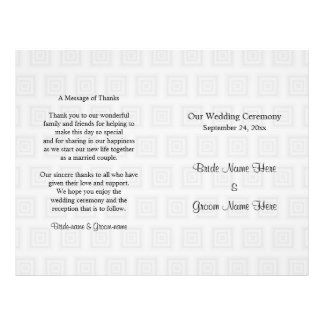 Hochzeits-Programm-Entwurfs-blasse graue Quadrate 21,6 X 27,9 Cm Flyer
