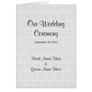Hochzeits-Programm-Entwurfs-blasse graue Quadrate Grußkarte