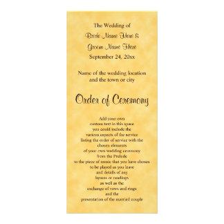 Hochzeits-Programm im Gelb und im Schwarzen 12,2 X 22,9 Cm Kartendruck