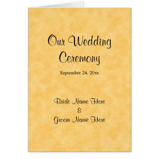 Hochzeits-Programm im Gelb und im Schwarzen Grußkarte