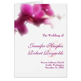 Hochzeits-Programm-Karte - rosa Orchideensammlung Grußkarte