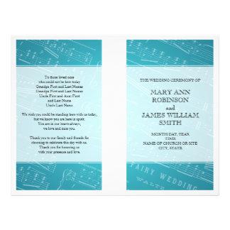 Hochzeits-Programm-Notenen-Blau Flyer