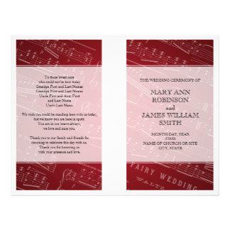 Hochzeits-Programm-Notenen-Rot 21,6 X 27,9 Cm Flyer