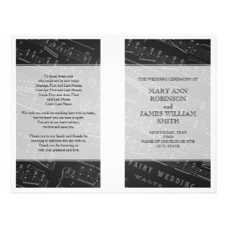 Hochzeits-Programm-Notenen-Schwarzes Vollfarbige Flyer