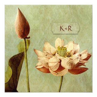 Hochzeits-Quadrat Etude de Fleurs Vintage Karte