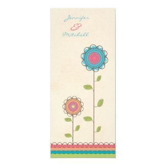 Hochzeits-Regenbogen-hohe Blumen-lange Einladung