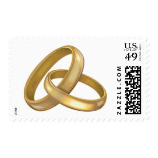 Hochzeits-Ring-Goldbänder, die UAWG einladen, Briefmarke