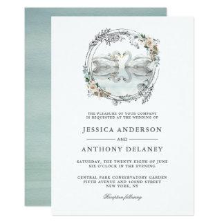 Hochzeits-Schwan-elegantes Aquarell mit Blumen Karte
