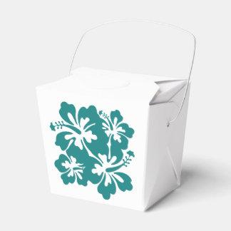 Hochzeits-Set - Hibiskus-aquamarine Blumen Geschenkschachteln