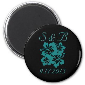 Hochzeits-Set - Hibiskus-aquamarine Blumen Runder Magnet 5,7 Cm