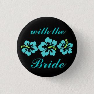 Hochzeits-Set - tropisch - Hibiskus-Blau Runder Button 2,5 Cm
