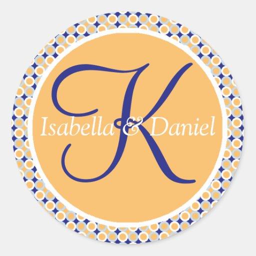 Hochzeits-Siegel-Aufkleber des Monogramm-K