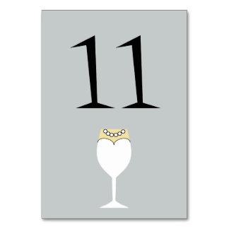 Hochzeits-Single-Wein-Glas-Tischnummer-Karte
