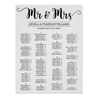 Hochzeits-Sitzplatz-Diagramm, Editable Poster