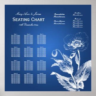 Hochzeits-Sitzplatz-Diagramm-Mohnblumen-Blau Poster