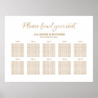 Hochzeits-Sitzplatz-Plan-Rosen-Goldmit buchstaben Poster