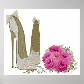 Hochzeits-Stilett-Schuhe und Blumenstrauß-Plakat Poster