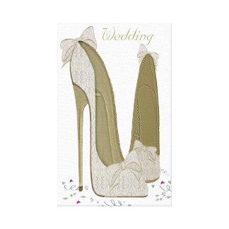 Hochzeits-Stilett-Schuhe wickelten Leinwand ein Gespannte Galeriedrucke