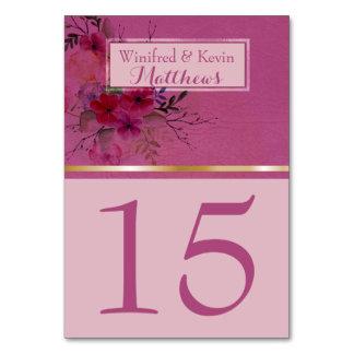 Hochzeits-Tischnummer  Chic-RosablumenWatercolor Karte