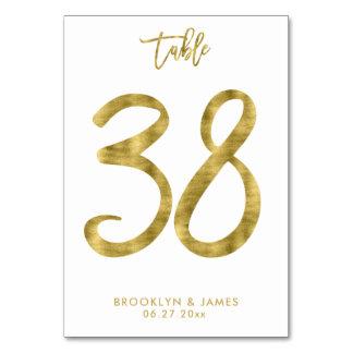 Hochzeits-Tischnummer-Goldfolien-Effekt Nr. 38 Karte