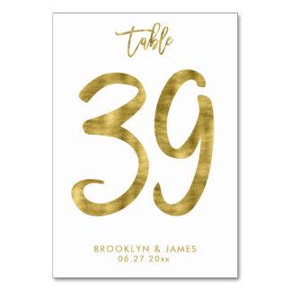 Hochzeits-Tischnummer-Goldfolien-Effekt Nr. 39 Karte