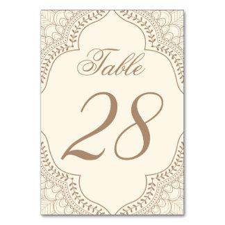Hochzeits-Tischnummer in Inder Mehndi Entwurf Karte