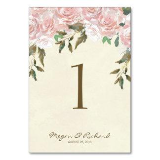Hochzeits-Tischnummer-Kartenelfenbein erröten Rosa Karte