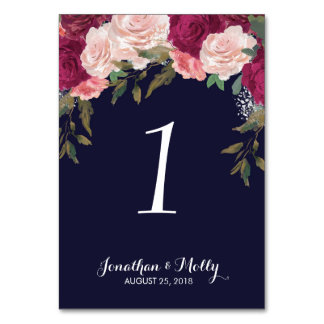 Hochzeits-Tischnummer-Kartenmarine mit Blumen