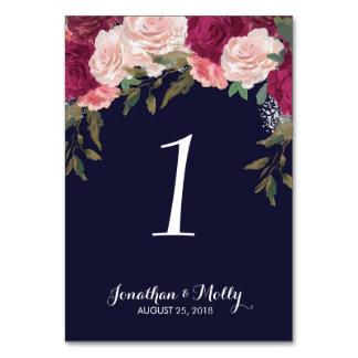 Hochzeits-Tischnummer-Kartenmarine mit Blumen Karte