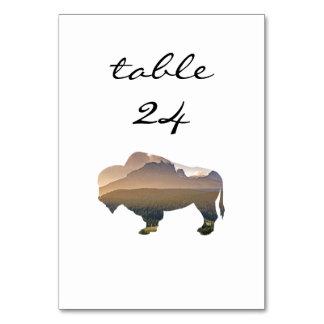 Hochzeits-Tischnummer-rustikaler Western-Bison Karte
