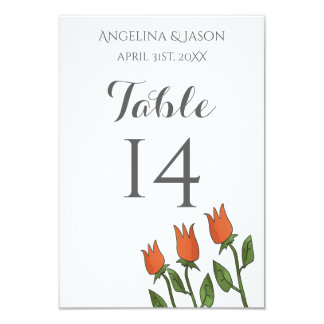 Hochzeits-Tischnummerblumenwatercolor-Frühling Karte