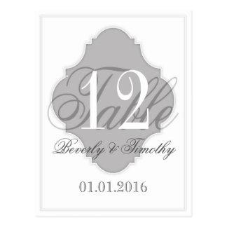 Hochzeits-Tischnummerkarte silbernes Grau Postkarte
