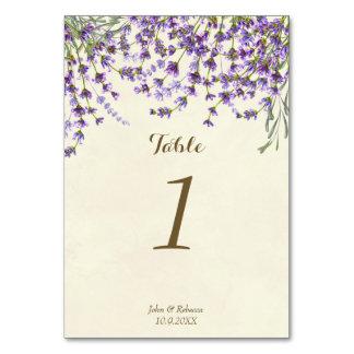 Hochzeits-Tischnummerkarten-Lavendel-Blumen Karte