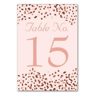 Hochzeits-Tischnummern  Chic-Rosen-GoldConfetti Karte