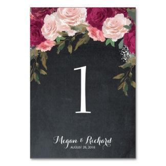 Hochzeits-Tischnummertafel-Burgunder-Rosa Karte