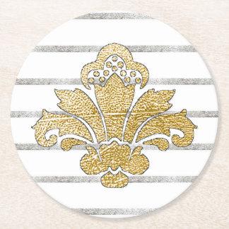 Hochzeits-Untersetzer-Imitat-Gold/silbernes Damast Runder Pappuntersetzer