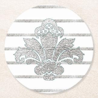 Hochzeits-Untersetzer-Imitat-silberner Damast Kartonuntersetzer Rund
