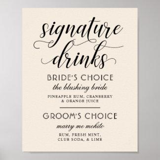 Hochzeits-Unterzeichnung trinkt warmes Weiß des Poster