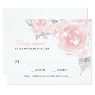 Hochzeits-Wartekarte  rosa Watercolor-Rosen 10,8 X 14 Cm Einladungskarte
