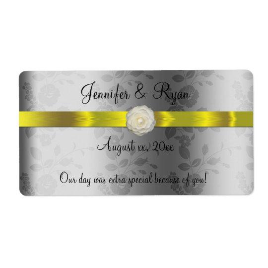 Hochzeits-Wein, elegantes Gelbes und silbern, Versandetiketten