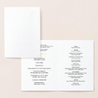 HOCHZEITS-ZEREMONIE-PROGRAMM stilvoller Folienkarte
