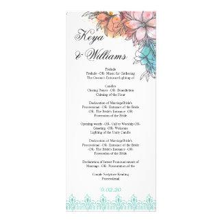 Hochzeits-Zeremonie-Programm Werbekarte