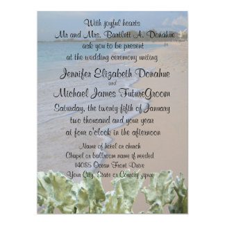 Hochzeits-Zeremonie-Strand mit blauer Koralle 16,5 X 22,2 Cm Einladungskarte