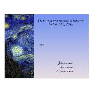 Hochzeitsannahmekarte, sternenklare Nacht Van Gogh Postkarte
