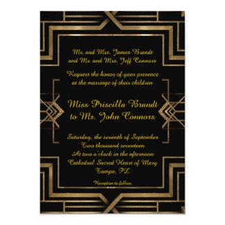 Hochzeitseinladung black&gold, groß-Gatsby, Skript 12,7 X 17,8 Cm Einladungskarte