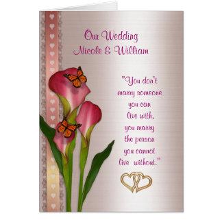 Hochzeitseinladung Callalilien und -schmetterlinge Karte