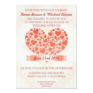 Hochzeitseinladung mit Herzen 12,7 X 17,8 Cm Einladungskarte
