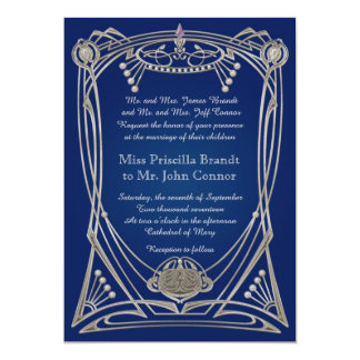 Hochzeitseinladungsc$blaunacht u. -silber 12,7 x 17,8 cm einladungskarte