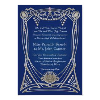 Hochzeitseinladungsc$blaunacht u. -silber karte